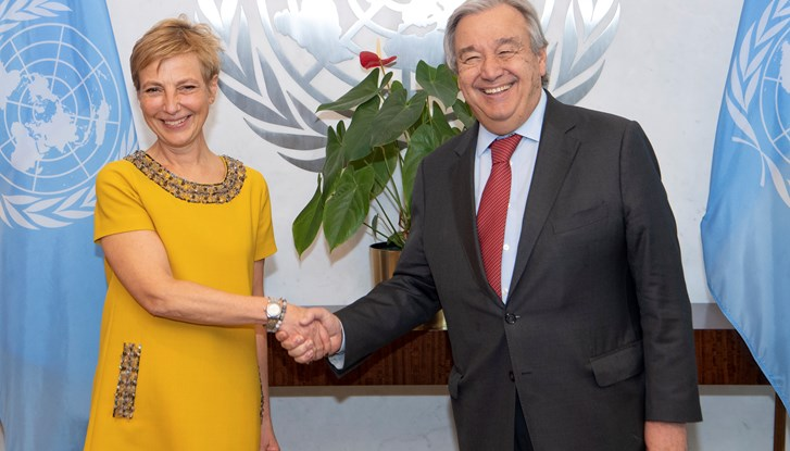 Anna Karin Eneström (left), new Permanent Representative of Sweden to the United Nations, presents her credentials to United Nations Secretary-General António Guterres.