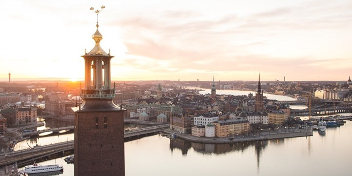 View over Riddarholmen and the tower of the City Hall in Stockholm