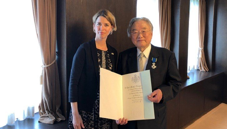 Mr. Taku Sugimoto by Ms Victoria Forslund Bellass, Deputy Head of Mission at the Embassy of Sweden in Tokyo