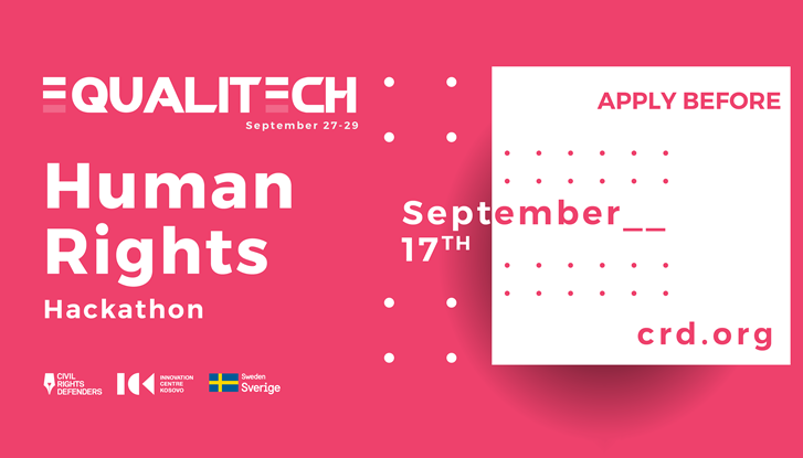 The human rights hackathon will take place between 27 and 29 September
