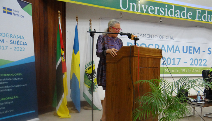 Ambassador Marie Andersson de Frutos during the launch at UEM